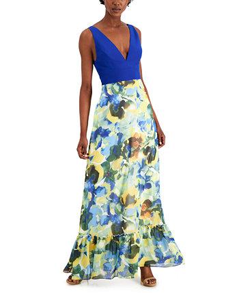 Plunging Floral-Print A-Line Dress Aidan Mattox