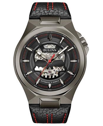 Мужские автоматические часы Maquina с черным кожаным ремешком 46 мм Bulova