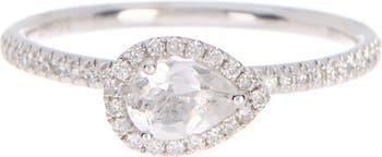 14K White Gold Pave Diamond White Topaz Ring - Size 6.5 Meira T