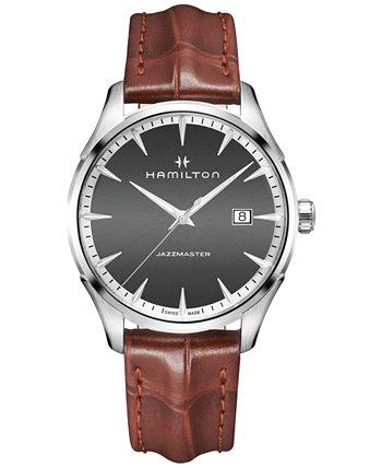 Мужские швейцарские часы Jazzmaster со светло-коричневым кожаным ремешком 40 мм Hamilton