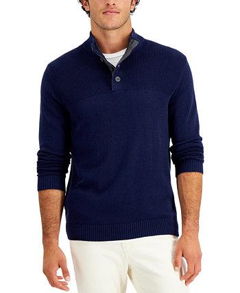 Мужской свитер с четырьмя пуговицами в рубчик, созданный для Macy's Club Room