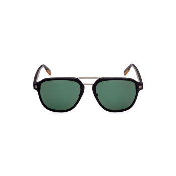 Черные пластиковые прямоугольные солнцезащитные очки 59 мм Zegna