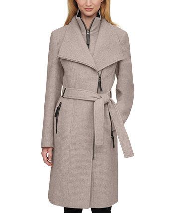 Пальто с отделкой из искусственной кожи с поясом, созданное для Macy's Calvin Klein