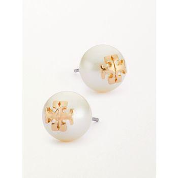 Серьги-гвоздики из желтого золота с кристаллами и жемчугом с логотипом Tory Burch