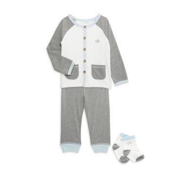 Пижамный комплект из 3 предметов для маленьких мальчиков Calvin Klein