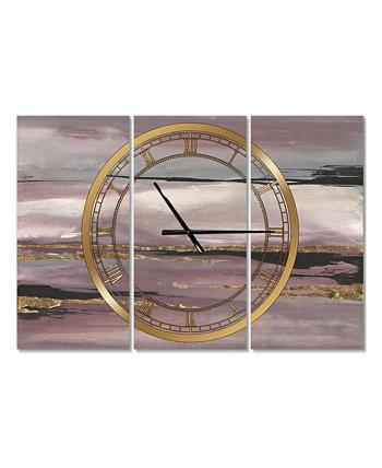 Металлические настенные часы Glam с 3 панелями Designart