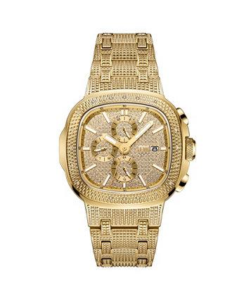 Мужские часы с бриллиантами (1/5 кар. В.) Из 18-каратного позолоченного часов из нержавеющей стали 48 мм JBW