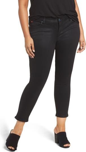 Укороченные узкие брюки из стретч-вельвета SLINK JEANS