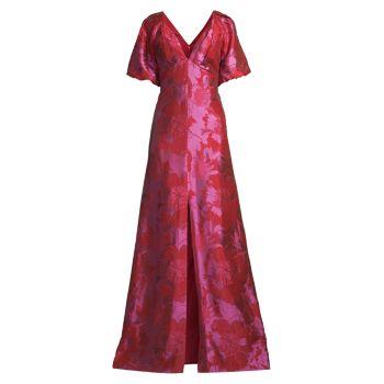 Платье с двойным V-образным вырезом Aidan Mattox