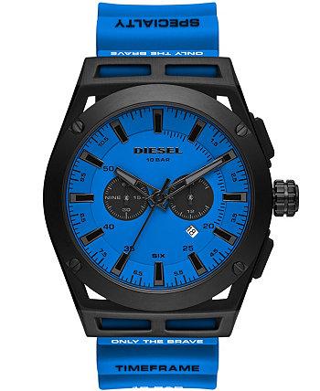 Мужские часы с хронографом и хронографом с синим силиконовым ремешком 48 мм Diesel