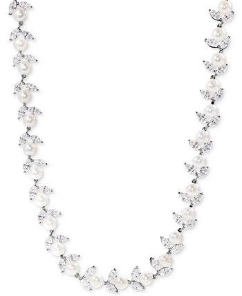 Ожерелье из стерлингового серебра с культивированным пресноводным жемчугом (6 мм) и цирконием Swarovski Arabella