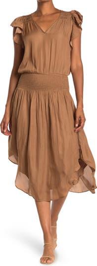 Платье миди со сборками на талии и V-образным вырезом Mustard Seed