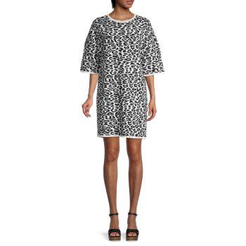 Платье из жаккардового трикотажа с леопардовым принтом Carolina Herrera