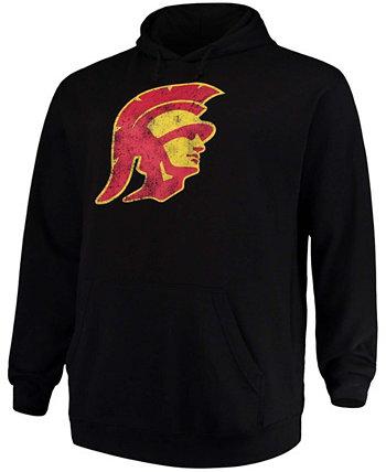 Черный мужской пуловер с капюшоном и логотипом Big and Tall USC Trojans Profile