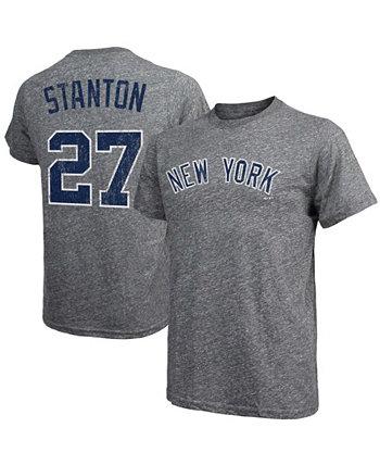 Men's Giancarlo Stanton Gray New York Yankees Name Number Tri-Blend T-shirt Majestic