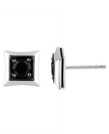 Серьги-гвоздики с кластером из черного сапфира (7/8 карат) из стерлингового серебра, созданные для Macy's Esquire Men's Jewelry