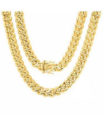 Мужская 24-дюймовая кубинская цепочка из нержавеющей стали с покрытием из 18-каратного золота, кубинские звенья Майами и 12-миллиметровые ожерелья с застежкой-коробкой STEELTIME