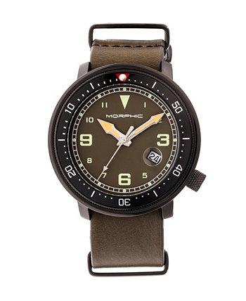 Серия M58, черный корпус, часы с оливковым кожаным ремешком НАТО и датой, 42 мм Morphic