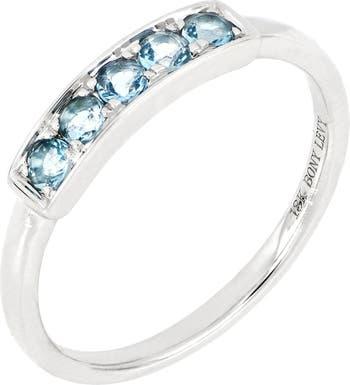 Набор зубцов из белого золота 18 карат с синим топазом Наборное кольцо с синим топазом Bony Levy
