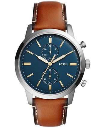 Мужские часы-хронограф Townsman со светло-коричневым кожаным ремешком 44 мм FS5279 Fossil
