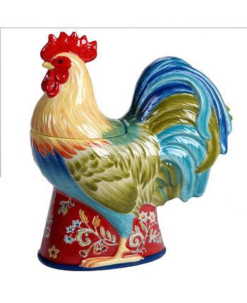 Трехмерная банка для печенья с изображением петуха Morning Bloom Certified International