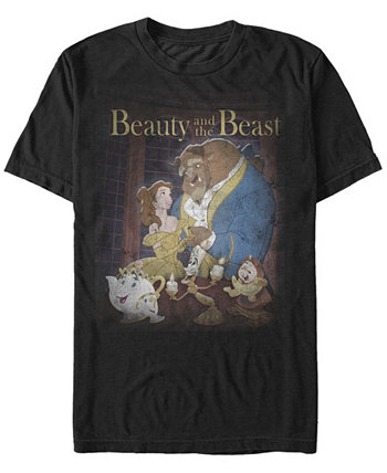 Мужская винтажная футболка с короткими рукавами Disney Beauty and The Beast Distressed Group Shot Disney Princess