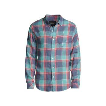 Голубая рубашка в клетку Wyatt Aqua Rails