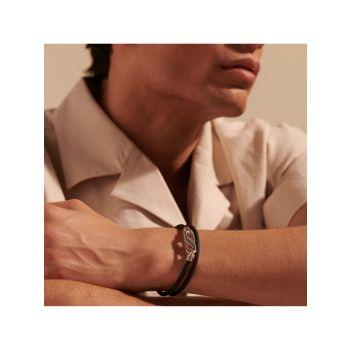Классическая цепочка из стерлингового серебра и серебра. Кожаный браслет с двойной оберткой JOHN HARDY