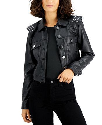 Куртка из искусственной кожи с заклепками, созданная для Macy's Bar III