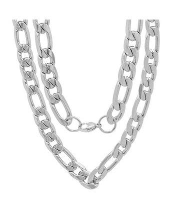 """Мужские 24-дюймовые ожерелья с 10-миллиметровым звеном """"Фигаро"""" из нержавеющей стали с акцентом STEELTIME"""