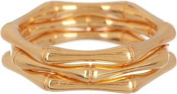 Бамбуковые кольца из стерлингового серебра с покрытием из 14-каратного золота - 3 шт. В упаковке ADORNIA