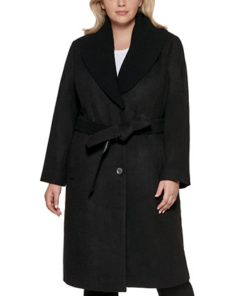 Пальто большого размера с запахом и трикотажным воротником с поясом DKNY