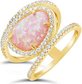 Кольцо с розовым опалом и овальным камнем из 14-каратного золота с вермеилом Sterling Forever