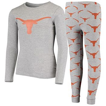 Youth Gray Texas Longhorns Long Sleeve T-Shirt and Pants Sleep Set Outerstuff