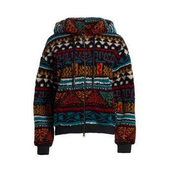 Флисовый свитер на молнии с капюшоном и геометрическими лентами Etro
