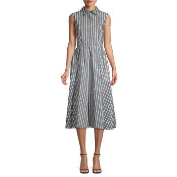 Sleeveless Stripe & Floral Day Dress Jason Wu