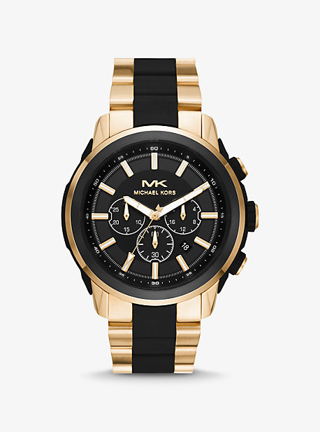 Крупногабаритные часы Kyle в золотистом цвете и силиконе Michael Kors
