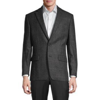 Regular-Fit Windowpane Plaid Wool-Blend Blazer LAUREN Ralph Lauren