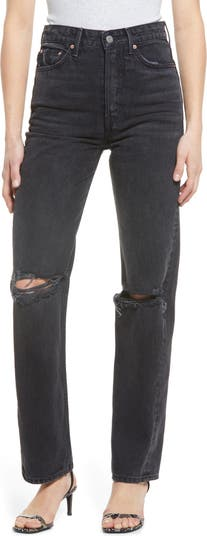 Рваные джинсы прямого кроя с завышенной талией GRLFRND