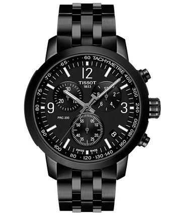 Мужские швейцарские часы PRC 200 с браслетом из нержавеющей стали черного тона с хронографом 43 мм Tissot