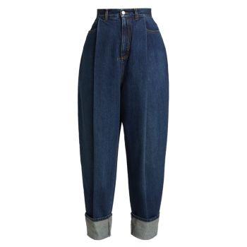 Укороченные джинсы с широкими штанинами Alexander McQueen
