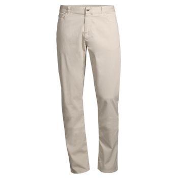 Комфортные эластичные брюки из микротвила стандартного кроя Canali