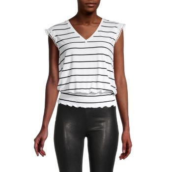 Striped Smocked-Waist Top Laundry by Shelli Segal