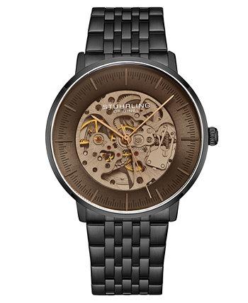Мужские автоматические часы с черным звеном и браслетом 42 мм Stuhrling