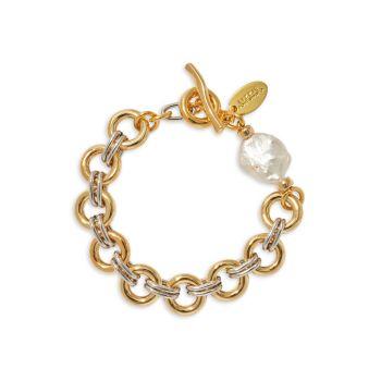 Позолоченный браслет-цепочка с жемчугом 18 карат Lizzie Fortunato