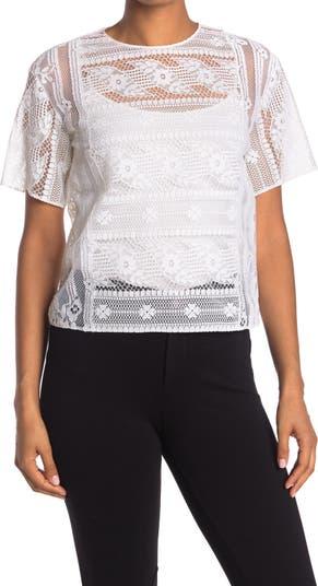 Кружевная рубашка с коротким рукавом Valentino