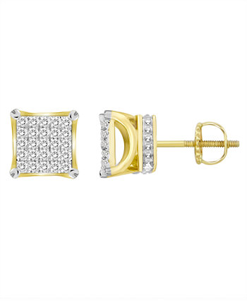 Набор мужских серег с бриллиантами (1/6 карата) из желтого золота 10 карат Macy's