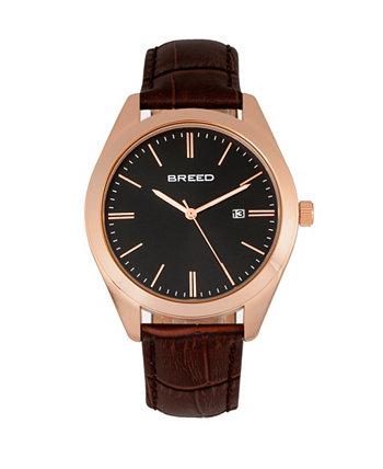 Кварцевые часы Louis из розового золота, коричневого и черного цвета из натуральной кожи, 42 мм Breed