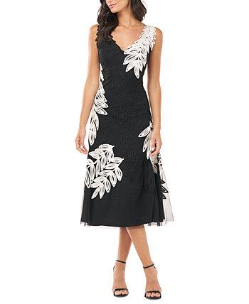 Миди-платье с вышивкой в виде листьев JS Collections