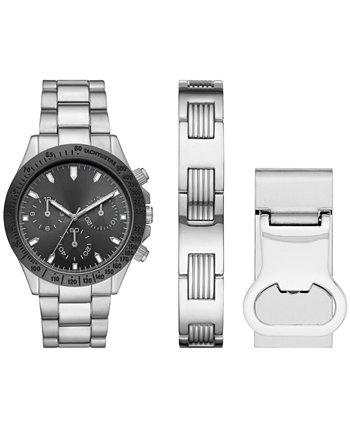 Мужские серебряные часы с браслетом и браслет с зажимом для денег, подарочный набор 43 мм Folio